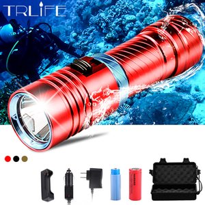 Dive 100 Meter L2 18650 26650 Diving LED Flashlight Waterproof Underwater Camping Lanterna Torch Lamp Stepless Dimming Y200727