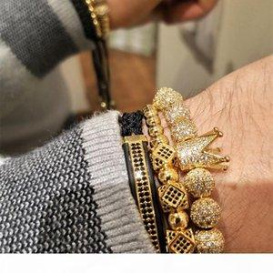 3pcs set Hip Hop Gold Crown Bracelets Cubic Micro Pave Cz Boule Charm Tressé Tressage Homme luxe Bijoux Pulseira Bileklik C19041201