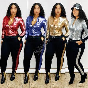 Frauen Mode Paillette Scales Anzug Zipjacke Mäntel Legging Hosen Outfits Glitzer-Tops Sweatsuit Sexy zwei Stücke Kleidung D82806 Sets