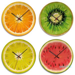 الفاكهة ساعة الحائط البرتقال الليمون الفواكه الجير بوميلو الحديثة المطبخ على مدار الساعة ووتش ديكور المنزل الفاكهة الاستوائية جدار الفن التحفة الفنية