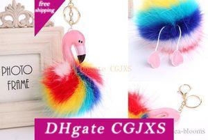 Rainbow Color Flamingo Fur bola Pom Pom Chaveiro Plush Doll Pendant Chaveiro bonito Synthetic Fur Gfit Fba transporte da gota B566q