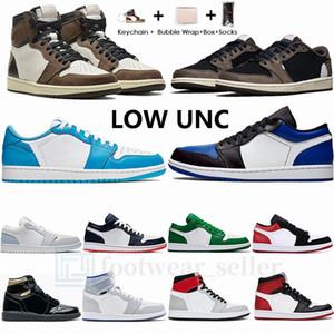 1S High Тревиса SCOTTS Low Dark Mocha 1 Mens Basketball обувь Увеличить Гонщик UNC Blue Shadow Obsidian Мода Спортивные кроссовки Jumpman тренажеры