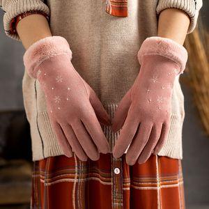 Winter Ladies Gloves 2020 New Touch Screen Wrist Gloves For Women Snowflake Plush Inside Soft Outdoor Warm Women Gloves