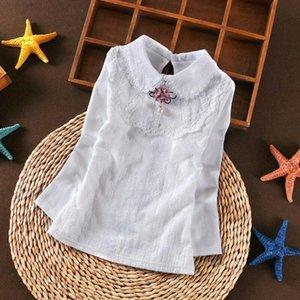 Autumn White Girls Blouse Shirts Baby Teen School Girl Lace Tops Long Sleeve Kids Cotton Shirt Children Clothes 6 8 10 12 Years azp5#