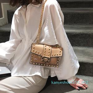 Small clear Woman 2019 New Fashion Messenger Bag Chains Shoulder Bags Female Rivets Transparent Square PU Handbag k02