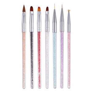 Nail Art Escova Dicas de Design Pintura Desenho Carving Dotting Pen Builder Plano Fan Liner Acrílico Gel UV Polish Ferramenta de Manicure