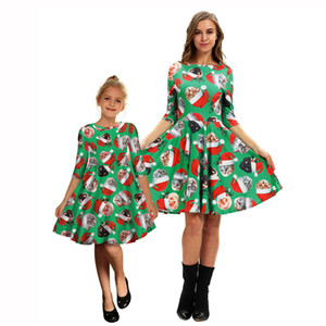 New Cat Christmas Print Mother And Daughter Matching Mid Sleeve Dress European And American Fashion Dress Female Fashion Style