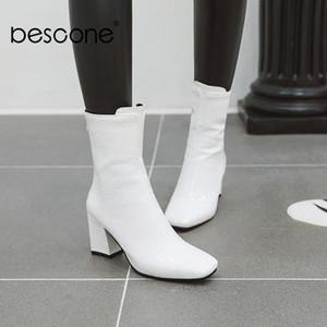 الأحذية بيسكون handamde النساء منتصف العجل مثير أشار تو سستة كعب أحذية الشتاء الدافئ 7.3 سم عالية السيدات BM218