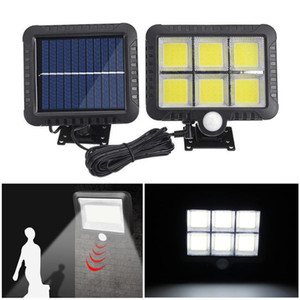 56 100/120 LED Güneş Duvar Işık Açık Havada COB Güneş Bahçe Işık Su Geçirmez PIR Hareket Sensörü Duvar Lambası Spot Acil Sokak Lambası