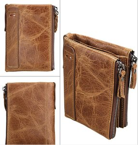 brown Cowhide men's wallet Anti-theft brushed leather short style Men's purse double zipper zero denim casual wallet