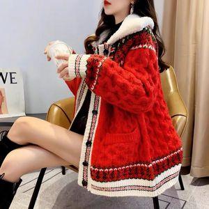 20190921 manteau manteau hiver femme longueur moyenne rouge pull femme gilet épaissies automne et l'hiver nouveau manteau tricoté lâche