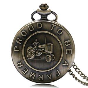2020 Новый Прибытие Retro Гордый быть фермером карманные часы Бронзовый стимпанк Кварц Fob Часы для мужчин Мальчик с цепью