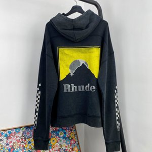 ملابس 2020AW Rhude هوديي الرجال النساء لون كم شارع آخر صيحات الموضة جودة عارضة فضفاض الجيب Rhude T شيرت الأعلى تيز