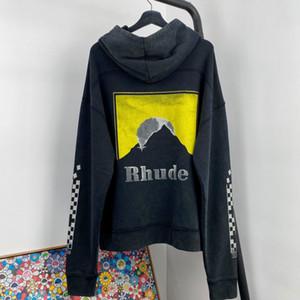 Desgaste 2020AW Rhude con capucha Calle Hombres Mujeres Lone manga de alta calidad de manera ocasional del bolsillo suelto Rhude camisetas Top Tees