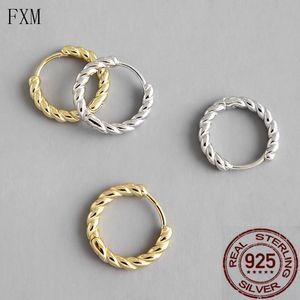 Minimalist twist rope small hoop earring 925 silver for women elegant dainty tidal earring fashion 2020