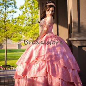 Luxury Coral Pink Quinceanera Dresses Mexican Off The Shoulder Rhinestone Beaded Pageant Formal Dress 2020 Princess Sweet 16 Dress For Prom