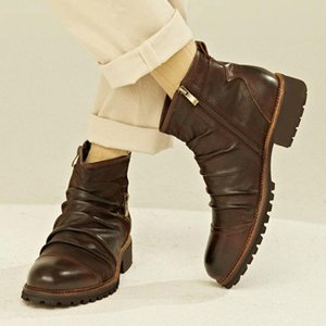 Мужчины Basic Boots PU Leather Винтажная мужская мода обувь Zip Зима Осень Ботильоны Motocycle большого размера для мужчин