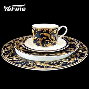 YeFine de cerámica de alta calidad chapado en oro Placas de China de hueso de vajilla filete platos de porcelana vajilla del tazas y platillos Y200111