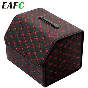Folding Leather Car Trunk Storage Box Waterproof Cargo Storage Bag Auto Stowing Tidying Organizer Box