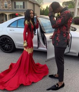 Burgundy African Mermaid Prom Dresses High Neck Long Sleeves Women's Party Gowns With Gold Lace Appliqued