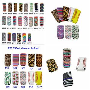 26 Styles Neoprene Stubby Holders Slim Beer Can Cooler Foldable Stubby Holders Beer Cooler Bags Fits 12oz Slim Drink YYA357 100pcs