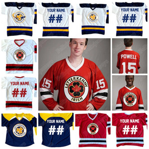 Customized irlandese Letterkenny 74 Jonesy 69 Shoresy 68 Reilly 15 Powell Hockey su ghiaccio Jersey Rosso Blu Navy Bianco con cuciture doppie Nome Numero Logo