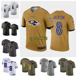 2020 novos homens BaltimoreRavensJersey 8 Lamar Jackson platinum black white Salute to serviço limitado pretos dourados de futebol Jerseys 0