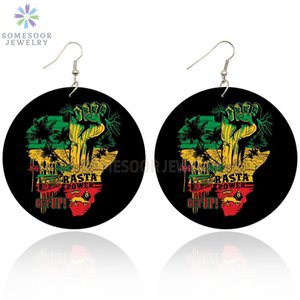 خشبي قطرة SOMESOOR مطبوعة الراستا قوة القبضة أفريقيا أقراط الأسود انهض الأفرو الخشب الهيب هوب مجوهرات للحصول على هدايا عيد الميلاد النساء