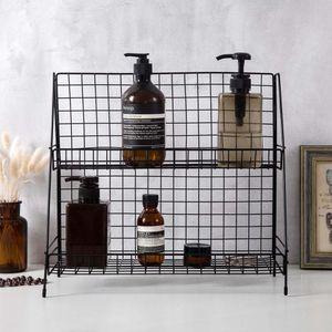Hot Desktop Storage Shelf Double-Layer-Eisen-Rack-Kosmetik Bücher Regale Halter-Küche-Rack Badezimmer Sundries Makeup Organizer