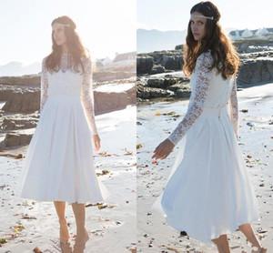 Vintage Tea-length Boho Wedding Dresses with Long Sleeve 2021 High Neck Full Lace Chiffon Little White Dress Beach Bride Gowns