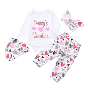 Clearance Excelent NEWEST lovely baby girls 4Pcs Infant Baby Girls Letter Hearts Print Valentine Romper Pants Outfits Set Z0214