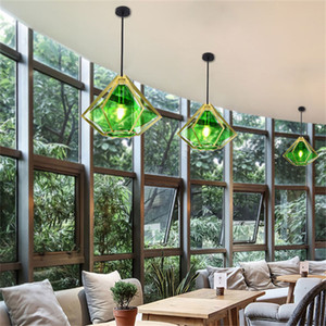 Nordic Restaurant Single Head Chandelier Window Bar Table Store Personality Glass Color Light Loft Diamond Decoration Chandelier