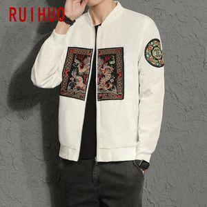 Ruihuo Dragon Embroidery Mens Giacca Cappotto Streetwear Uomo Giacca Uomo Bomber Bomber Abbigliamento M-5XL 2020 Autunno NUOVO