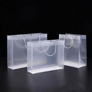 sacchetto regalo di plastica maquillage Frosted PVC con manici impermeabile sacchetto trasparente in PVC trasparente della borsa favori del partito borsa per il logo personalizzato cosmetici