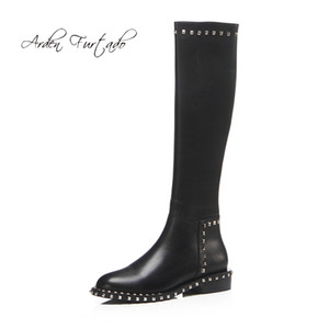 Arden Furtado 2020 spring autumn flat boots rivets knee high boots round toe genuine leather fashion women's shoes 31 42 new