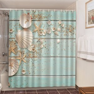 2020 Retro Wooden Striped Shower Curtain Waterproof Polyester Fabric 3D Conch Starfish Printed Bathroom Curtain with Cleanable Bath Screen