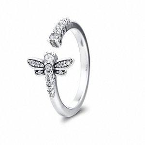QANDOCCI Véritable 925 anneaux en argent sterling mousseux Dragonfly ouvert Anneaux pour bijoux Finger L'engagement des femmes mariage berloques gGr6 #