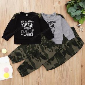 Kids Boy Clothes Designer Children Letter Shirts Camouflage Pants 2pcs Sets Long Sleeve Toddler Outfits INS Kids Clothing 2 Designs