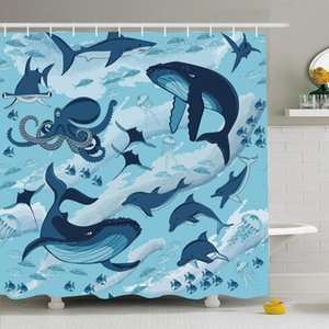 Shower Curtain Set with Hooks 72x72 Fish Textile Animals Design Pattern Deep Water Blue Fin Wildlife Textures Ocean Sharks