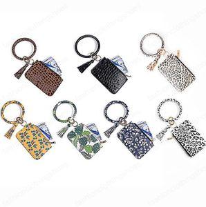 Wristlet Wallet Bangle Keyring PU Leather Bracelet Keychain Hanging Coin Purse Phone Bag Card Holder Women Girls Jewelry 7 Designs OWA749