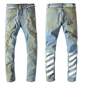 2020High уличных мод мужских джинсов прочь печататься вышивки светлого цвета натяжной тонкой белыми джинсовой мужской моды
