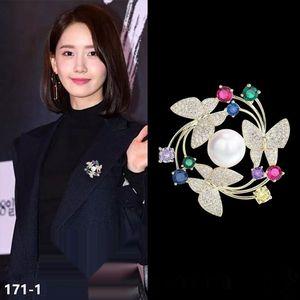 oai11 венок корейски ювелирные изделия костюм инкрустированные высокого класса бабочки венок брошь корейский стиль моды Pin Pinbutterfly ювелирные изделия костюма