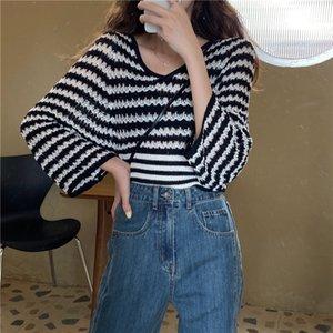 Ye0fK chaqueta de verano de la manga larga floja versátil Short CihcO de punto para punto de mujer hilo V-cuello camisa corta superior delgada géneros de punto