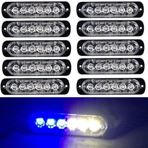 Wholesale White Blue 6LED Ultra-thin Car Side Marker Lights for Trucks Strobe Flash Lamp LED Flashing Emergency Warning Light