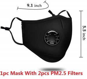 Free DHL Reused Face Masks Anti-Dust, Smoke, Outdoor, Indoor Adjustable & Reusable Protection with 2 PM2.5 Filters Mouth Mask for Women Man
