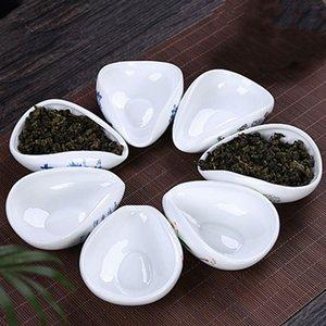 Blanc cuillère à thé en céramique Belle traditionnelle bleu glaçure à thé Scoop Bule en céramique et une cuillère à thé feuille de lotus