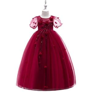 High Quality Little Girls Pageant Dress Red Ball Gown Beads Lace Applique Floor Length Flower Girls Dress 2020