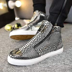 Autumn and winter men's shoes high-top shoes British hair stylist tide bright patent leather casual men's cotton