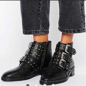 2020 Women Shoes 2020 Fashion Vintage Punk Rivets Sexy Pointed Toe Ankle Boots Slip on Deep High Heel Women Boots Bota Feminina