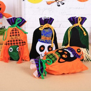 Halloween Drawstring Candy Bag Non-woven Fabric Cartoon Portable Handheld Ghost Pumpkin Skull Festival Decoration Magic Gift Bag WX9-1515
